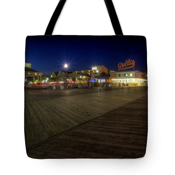 Rehoboth Beach Boardwalk At Night Tote Bag
