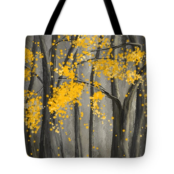 Rejuvenating Elements- Yellow And Gray Art Tote Bag