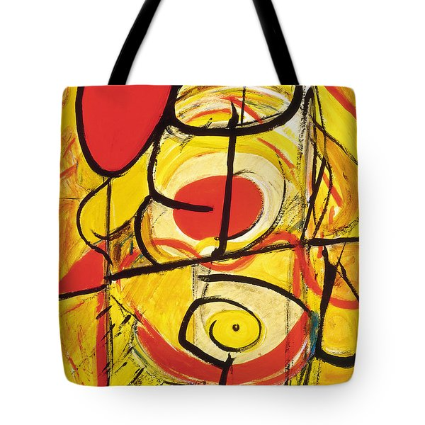 Tote Bag featuring the painting Relativity 3 by Stephen Lucas