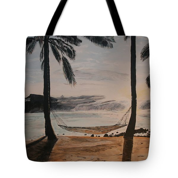 Tote Bag featuring the painting Relaxing At The Beach by Ian Donley