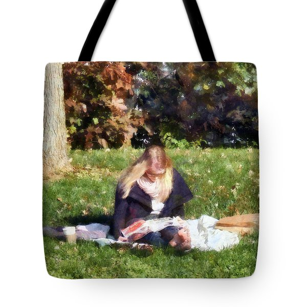 Relaxing In The Park Tote Bag by Susan Savad
