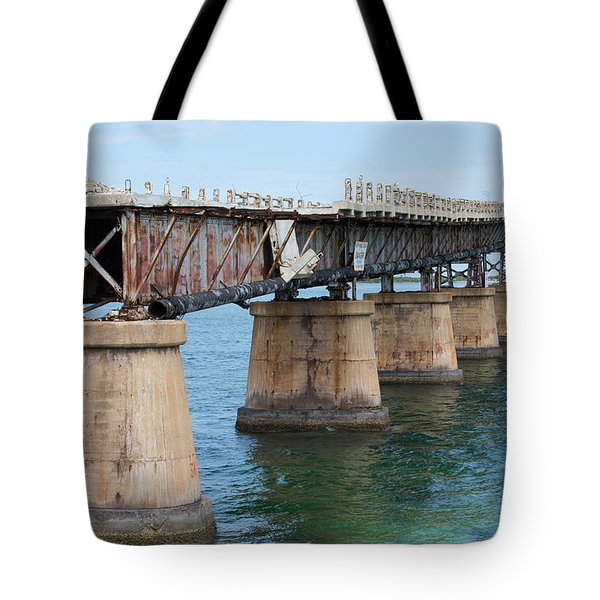 Relic Of The Old Florida Keys Overseas Railroad Tote Bag by John M Bailey