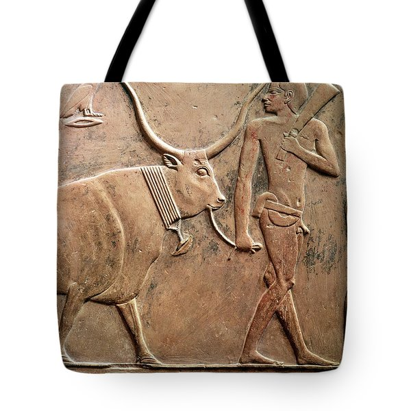 Relief Depicting A Peasant Leading A Cow To Sacrifice, From The Mastab Of Ptah-hotep Tote Bag