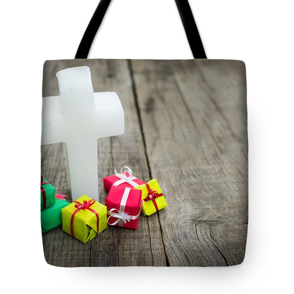 Religious Cross With Presents Tote Bag