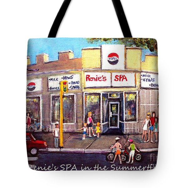 Tote Bag featuring the painting Renie's Spa In Summertime by Rita Brown