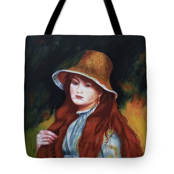 Renoir-young Girl In A Straw Hat Tote Bag