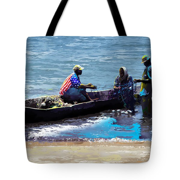 Tote Bag featuring the painting Repairing The Net At Lake Victoria by Anthony Mwangi