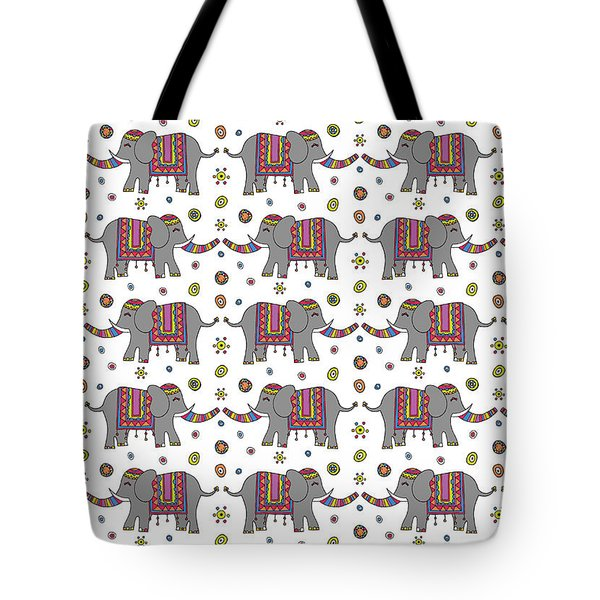 Repeat Print - Indian Elephant Tote Bag by Susan Claire