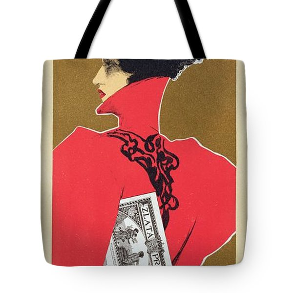 Reproduction Of A Poster Advertising 'zlata Praha' A Weekly Illustrated Newspaper Tote Bag by Czech School