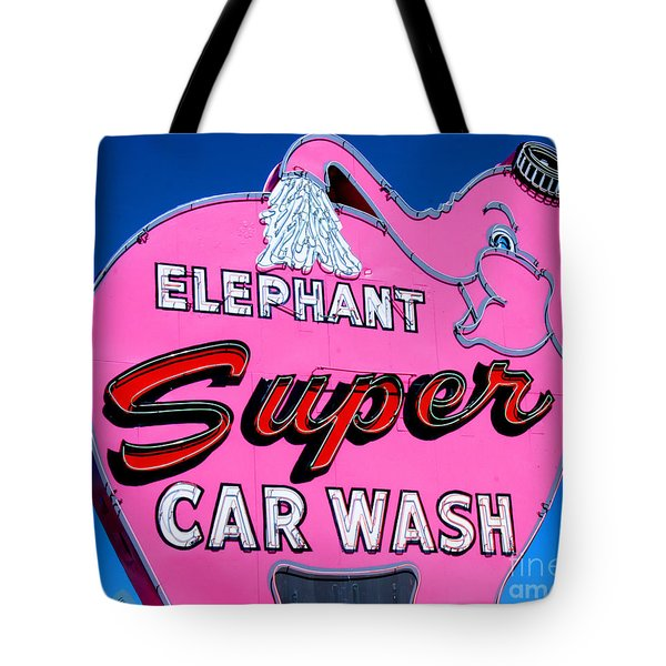 Elephant Super Car Wash Sign Seattle Washington Tote Bag