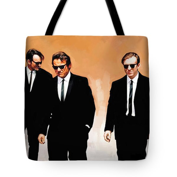 Tote Bag featuring the painting Reservoir Dogs Movie Artwork 1 by Sheraz A