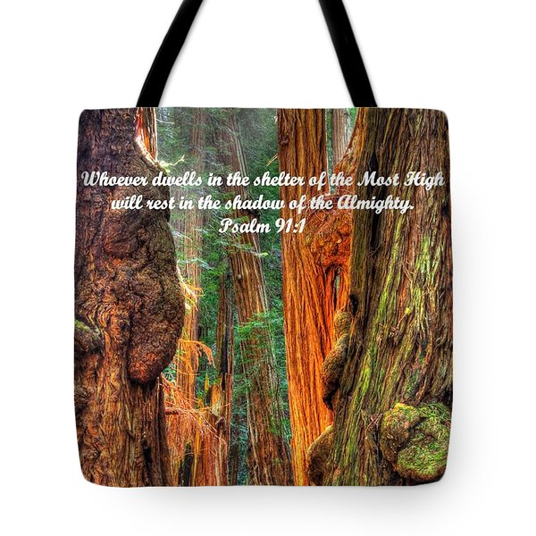 Rest In The Shadow Of The Almighty - Psalm 91.1 - From Sunlight Beams Into The Grove At Muir Woods Tote Bag
