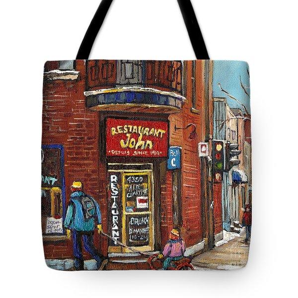 Restaurant John Tote Bag by Carole Spandau