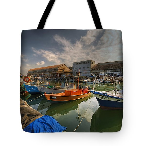 resting boats at the Jaffa port Tote Bag