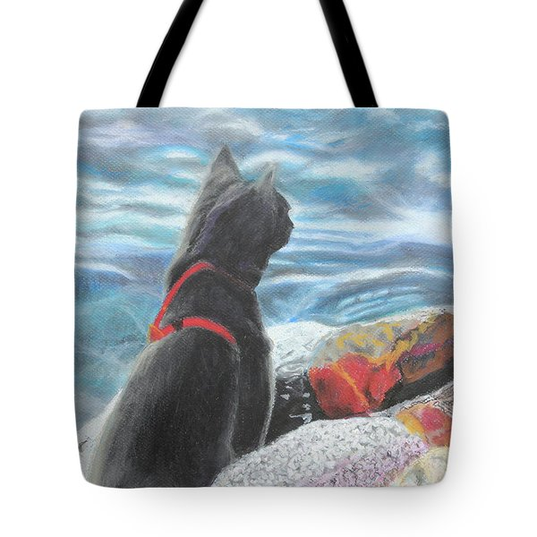Tote Bag featuring the painting Resting By The Shore by Jeanne Fischer