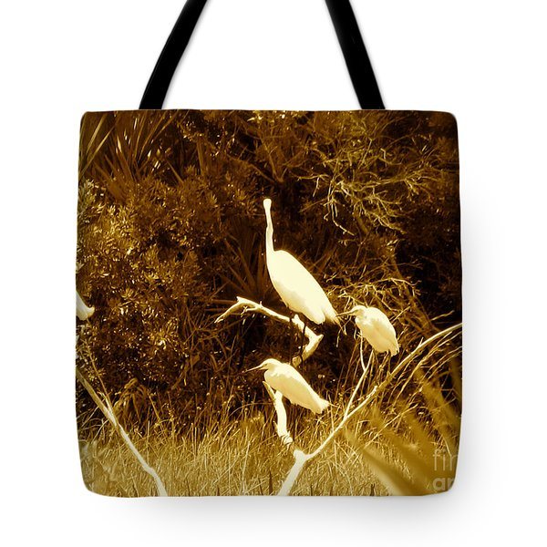 Resting Flock Sepia Tote Bag
