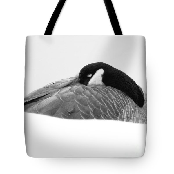 Resting Goose In Bw Tote Bag