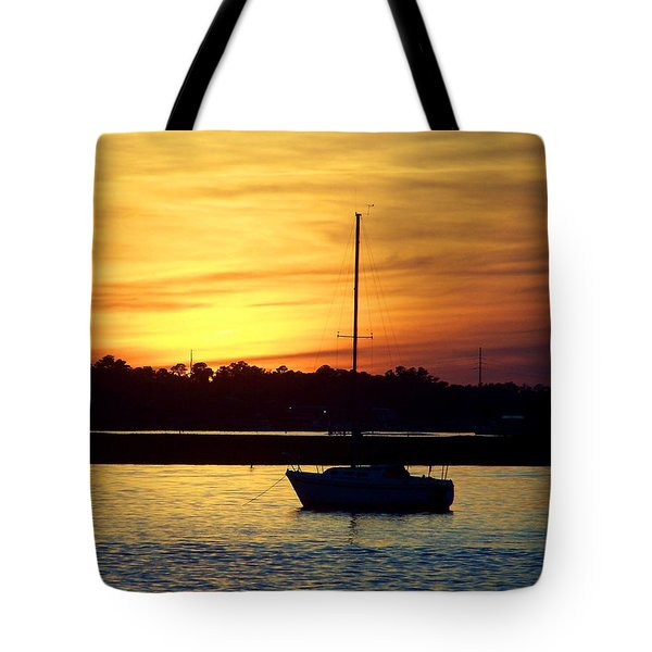 Tote Bag featuring the photograph Resting In A Mango Sunset by Sandi OReilly