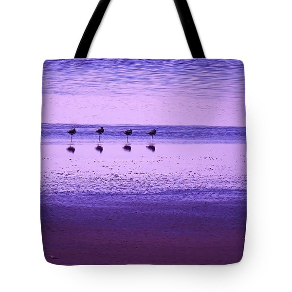 Avocets Resting In The Sunset Tote Bag by Michele Penner