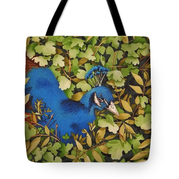 Resting Peacock Tote Bag by Katherine Young-Beck