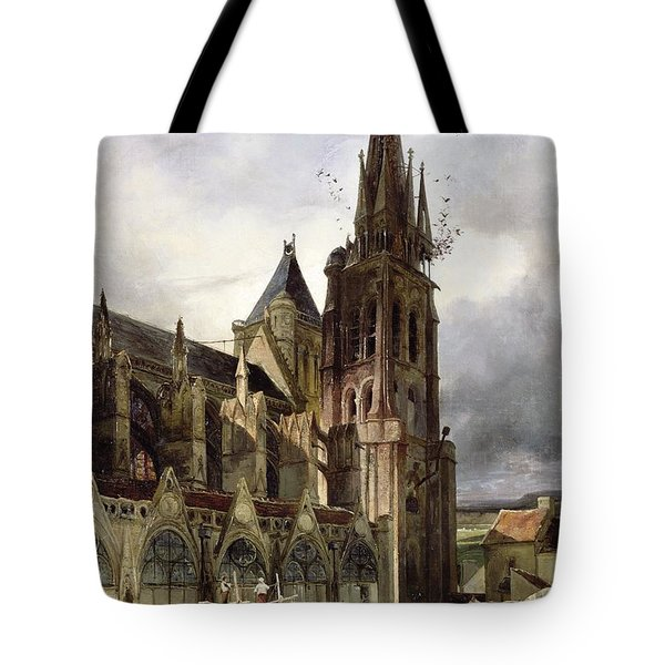 Restoring The Abbey Church Of St. Denis In 1833 Oil On Canvas Tote Bag