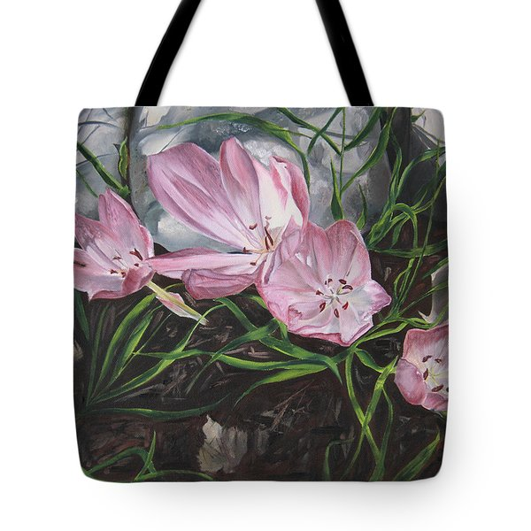 Tote Bag featuring the painting Resurrection Lilies by Jane Autry