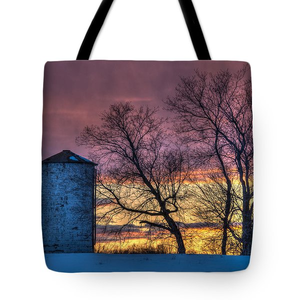 Retired Silo Watching Sunset Tote Bag