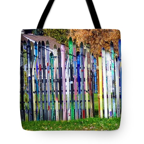 Tote Bag featuring the photograph Retired Skis  by Jackie Carpenter