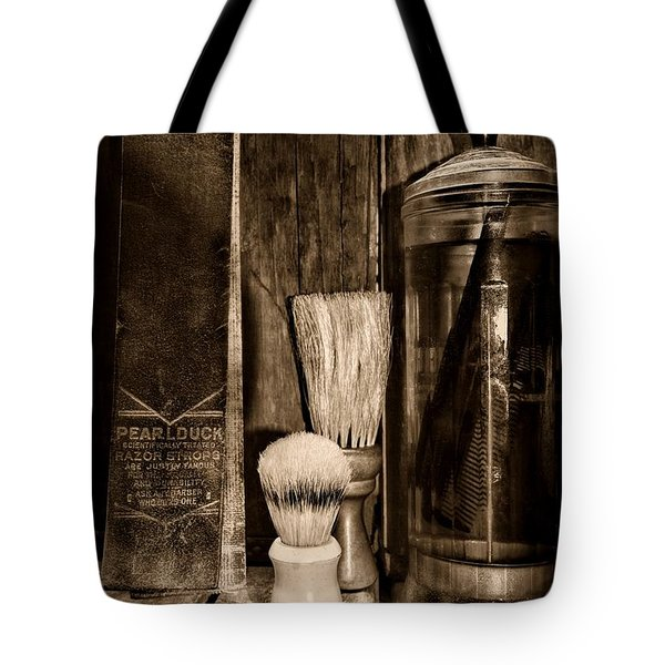 Retro Barber Tools In Black And White Tote Bag