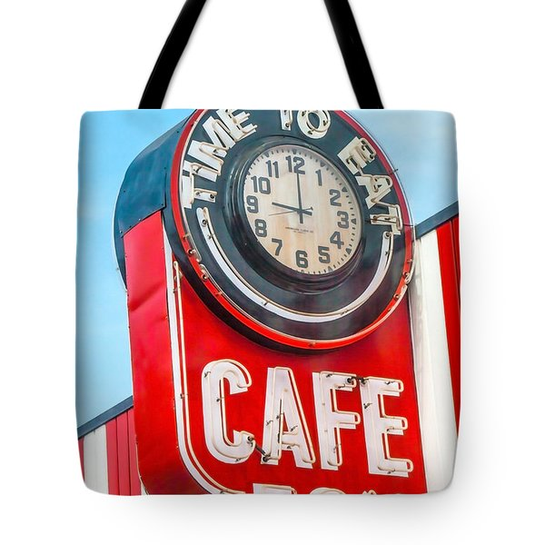 Tote Bag featuring the photograph Retro Cafe by Art Block Collections