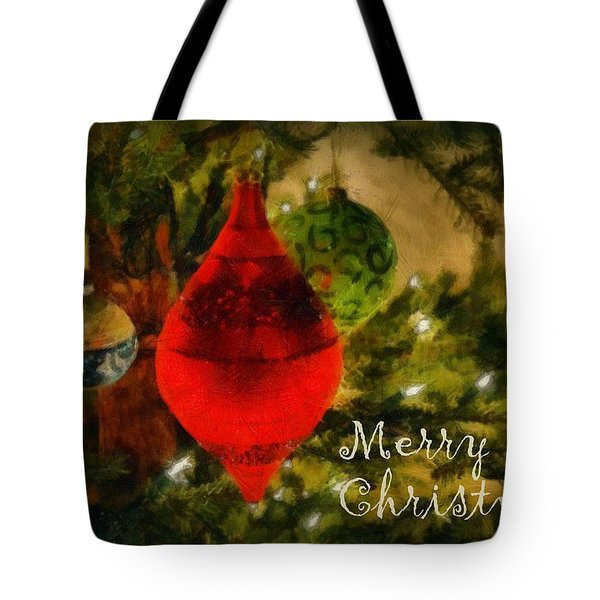 Retro Christmas Tote Bag by Michelle Calkins