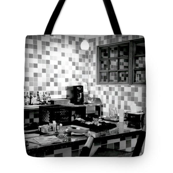 Retro Diner Bw Tote Bag by Karen Wiles