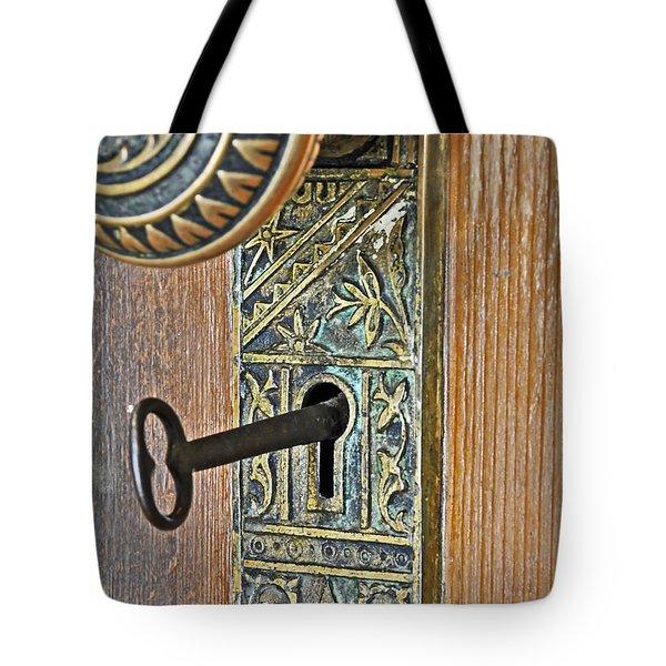 Retro Intricate Door Knob And Metal Key Art Prints Tote Bag