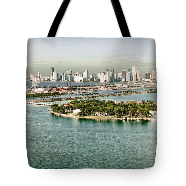 Retro Style Miami Skyline And Biscayne Bay Tote Bag