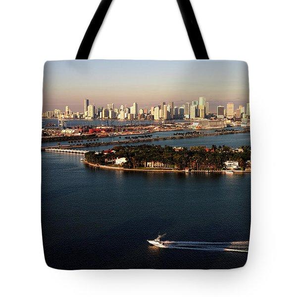 Retro Style Miami Skyline Sunrise And Biscayne Bay Tote Bag