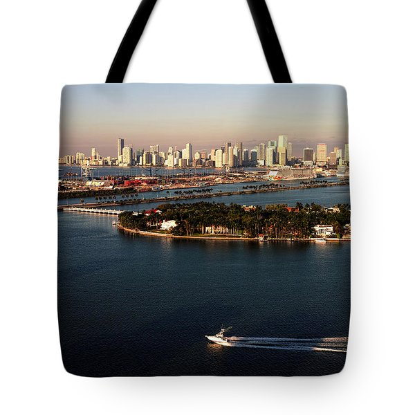 Retro Style Miami Skyline Sunrise And Biscayne Bay Tote Bag