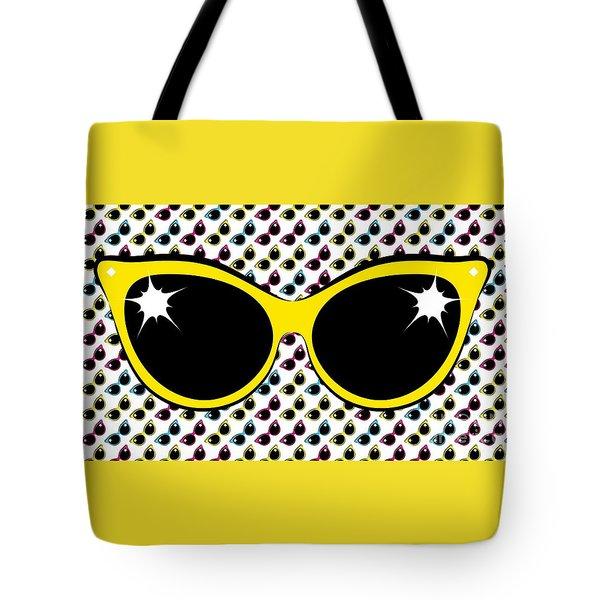 Retro Yellow Cat Sunglasses Tote Bag