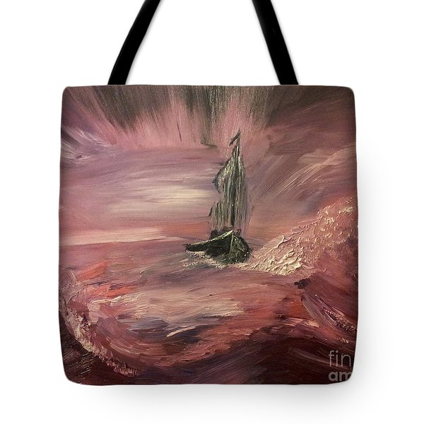 Return To Shores In Deep Red Tote Bag