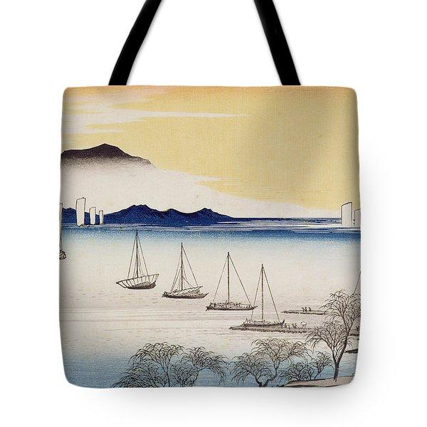 Returning Sails At Yabase Tote Bag by Hiroshige