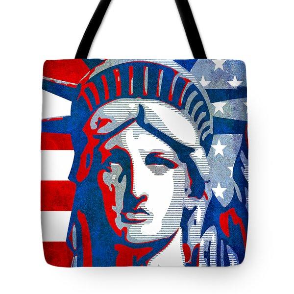 Reversing Liberty 3 Tote Bag by Angelina Vick