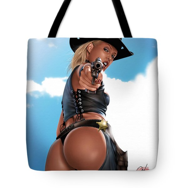 Tote Bag featuring the painting Revolver by Pete Tapang