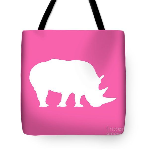 Rhino In Pink And White Tote Bag