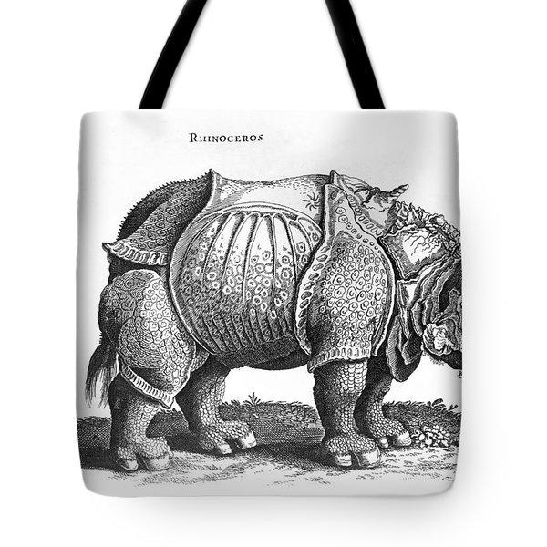 Rhinoceros No 76 From Historia Animalium By Conrad Gesner  Tote Bag by Albrecht Durer