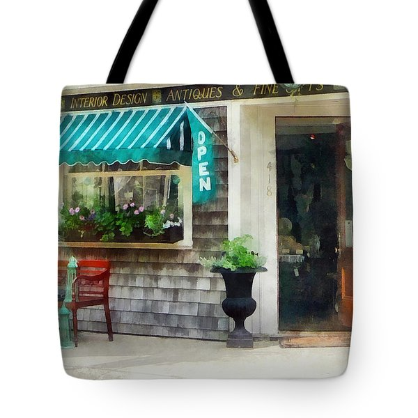 Rhode Island - Antique Shop Newport Ri Tote Bag by Susan Savad