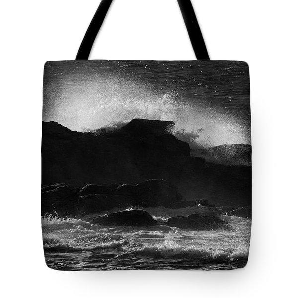 Rhode Island Rocks With Crashing Wave Tote Bag