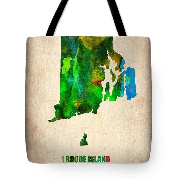 Rhode Island Watercolor Map Tote Bag by Naxart Studio