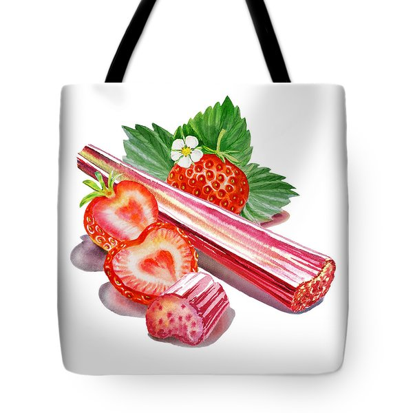 Tote Bag featuring the painting Rhubarb Strawberry by Irina Sztukowski