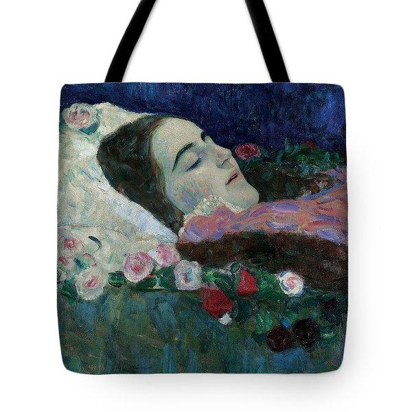 Ria Munk On Her Deathbed Tote Bag by Gustav Klimt