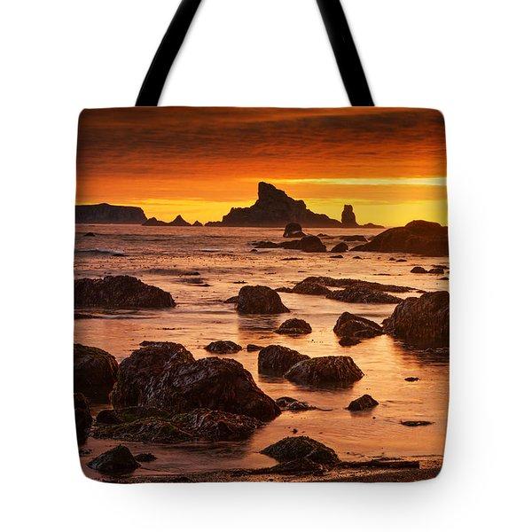 Rialto Beach Sunset Symphony Tote Bag by Mark Kiver