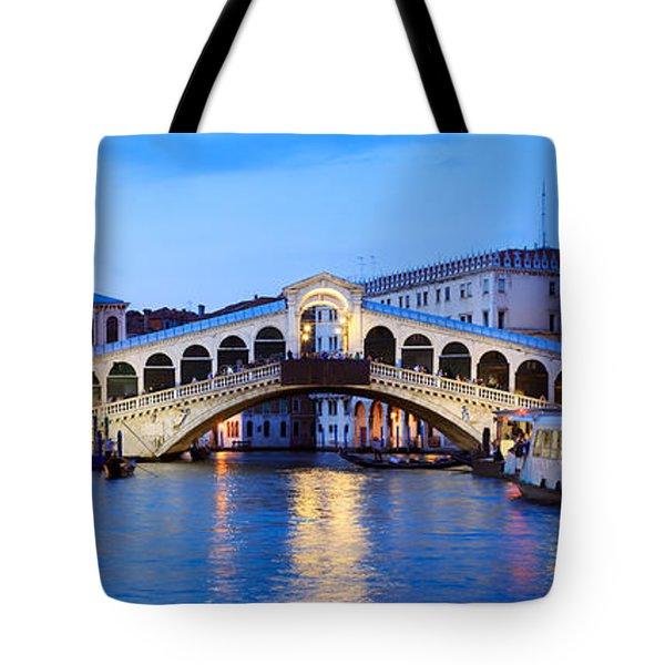 Rialto Bridge At Night Venice Italy Tote Bag